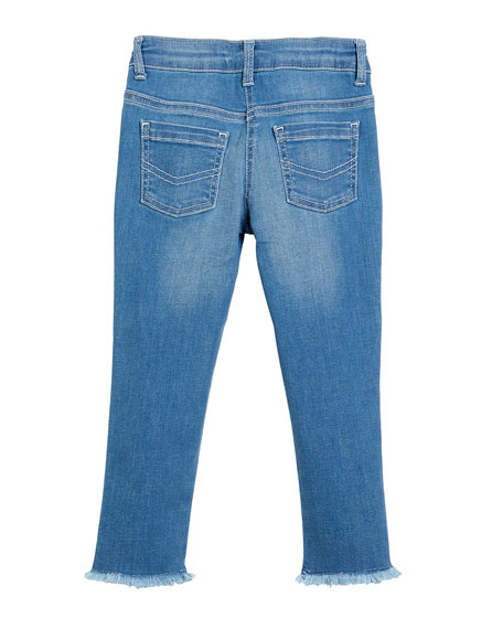 Raw-Hem Scallop Denim Jeans, Size 6-10