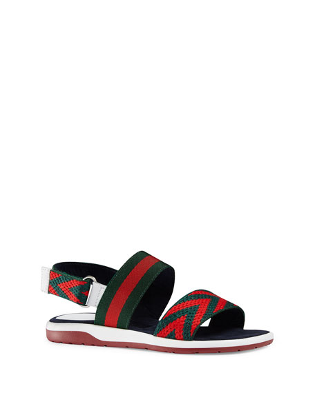 Gucci Chevron Leather Sandal, Green/Red, Toddler/Youth Sizes