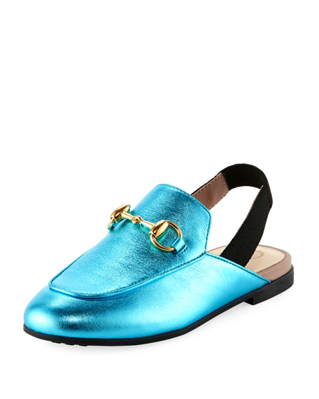 Gucci Princetown Junior Leather Horsebit Mule Slide,