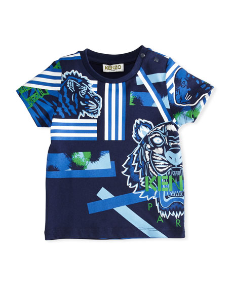 Kenzo Multi-Icon Tiger Striped T-Shirt, Navy, Size 12-18