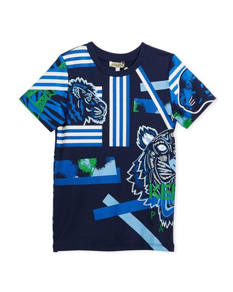 Kenzo Multi-Icon Tiger Striped T-Shirt, Navy, Size 2-6