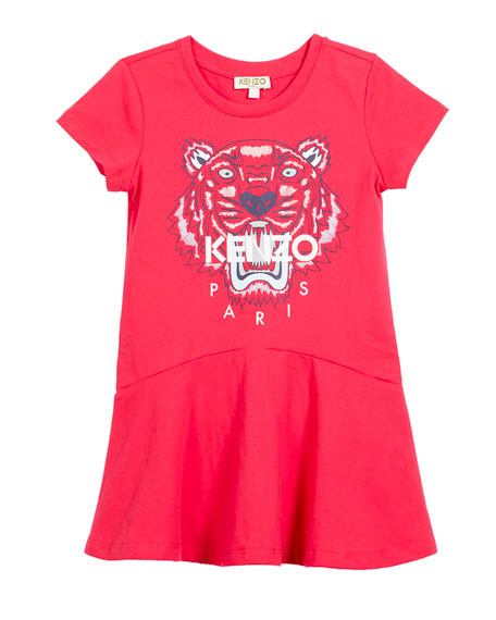 Kenzo Short-Sleeve Tiger Logo Dress, Size 14-16