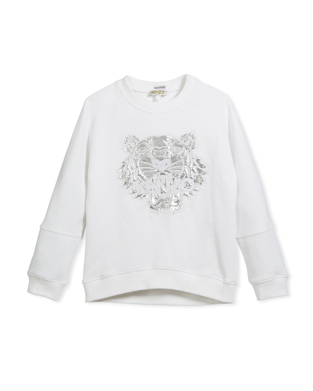 23183b462d Kenzo Drop-Shoulder Sweatshirt w/ Metallic Tiger Face, White, Size 4 ...