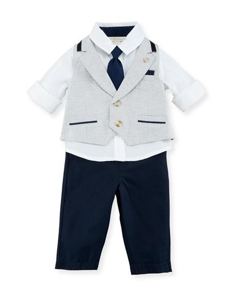 Miniclasix Mock-Vest Shirt w/ Pants, Gray, Size 3-24