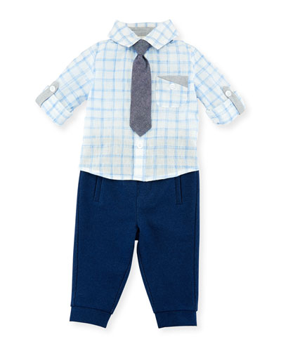 Check Shirt w/ Pants & Tie, Size 3-24 Months