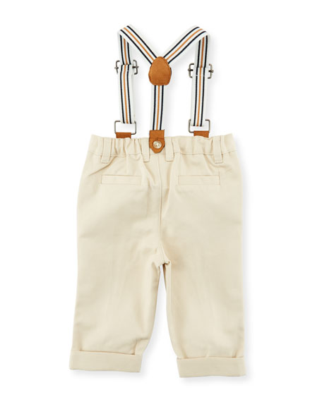 Button-Down Collared Shirt w/ Pants & Suspenders, Size 3-24 Months