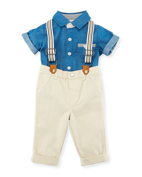 Miniclasix Button-Down Collared Shirt w/ Pants & Suspenders,