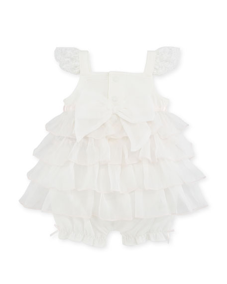 Lace & Ruffle Tulle Romper, Size 3-9 Months