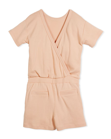Amira Short-Sleeve Cotton Jumpsuit, Size 5-14