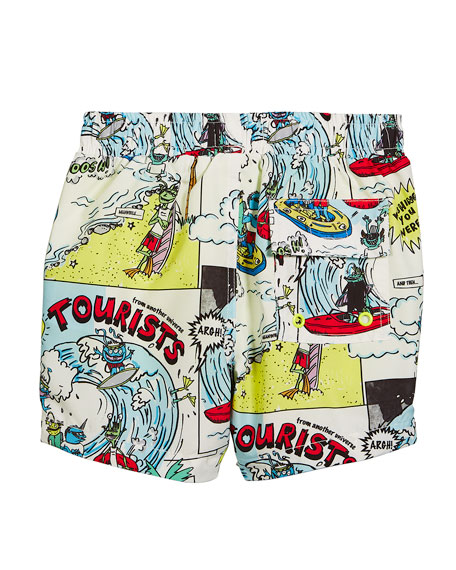Taylor Cartoon-Print Swim Trunks, Size 12-36 Months