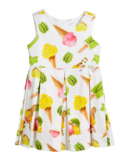 Mayoral Ice Cream Print Box-Pleat Sateen Dress, Size