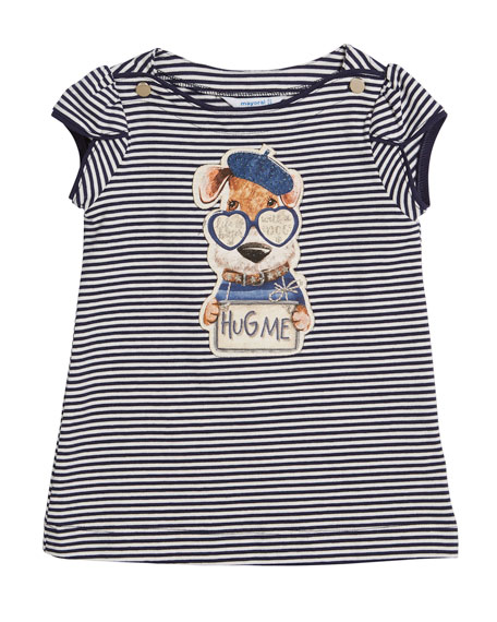 Stripe Hug Me Dog T-Shirt w/ Leggings, Size 3-7