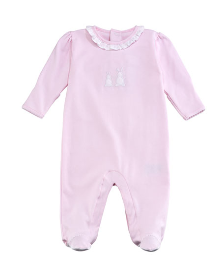 Kissy Kissy Pique Bunny Ears Ruffle-Collar Footie Playsuit,