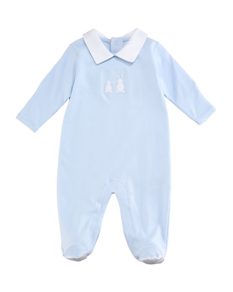 Kissy Kissy Pique Bunny Ears Collared Footie Playsuit,