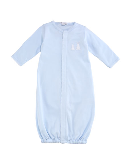 Pique Bunny Ears Convertible Pima Gown, Blue, Size Newborn-Small