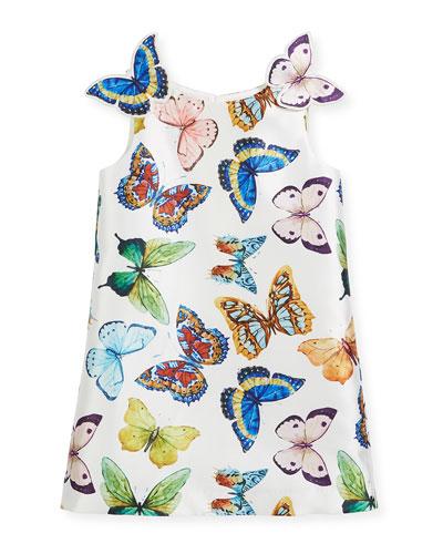 Sleeveless A-Line Butterfly Dress, Size 10-12