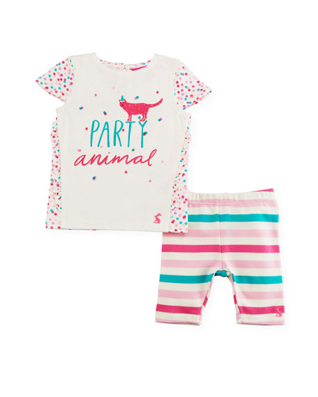 Joules Party Animal Graphic T-Shirt w/ Striped Leggings,