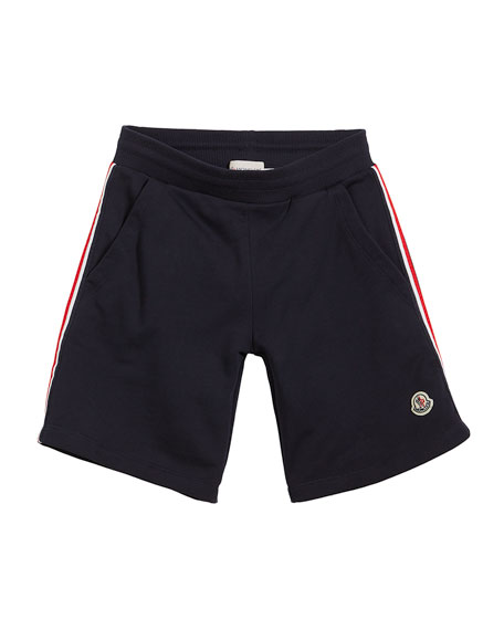 Moncler Cotton Sweat Shorts w/ Flag Sides, Size