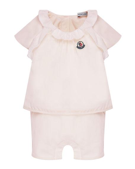 Moncler Cotton-Stretch Ruffle Top w/ Shorts, Size 6-24