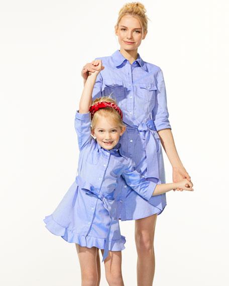Oxford Shirting Ruffle Dress, Size 8-14