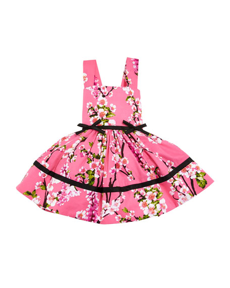 Cherry Blossoms Crewneck Dress, Pink, Size 2-6