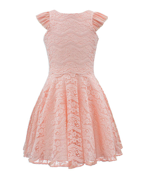 David Charles Ruffle-Sleeve Lace Dress, Size 8-16