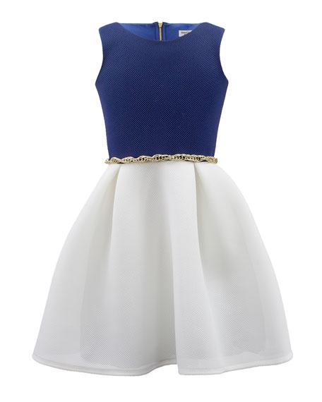 David Charles Two-Tone Sleeveless Dress w/ Chain Belt,