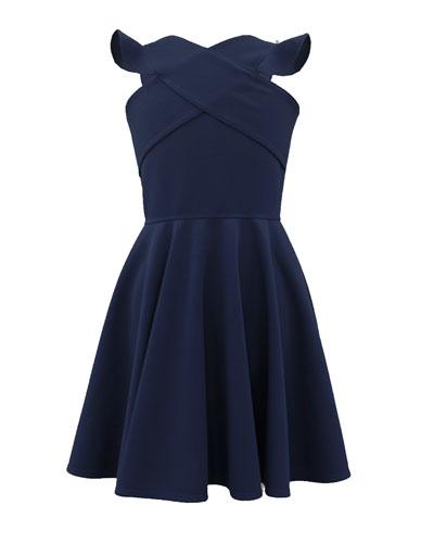 Crisscross Ruffle-Sleeve Dress, Size 8-16