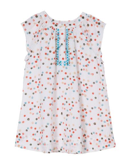 Polka-Dot Cotton Dress w/ Cross-Stitch Detail, Size 8