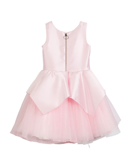 Pointed Peplum Matte Sateen Dress w/ Pleated Tulle Skirt, Size 4-6X