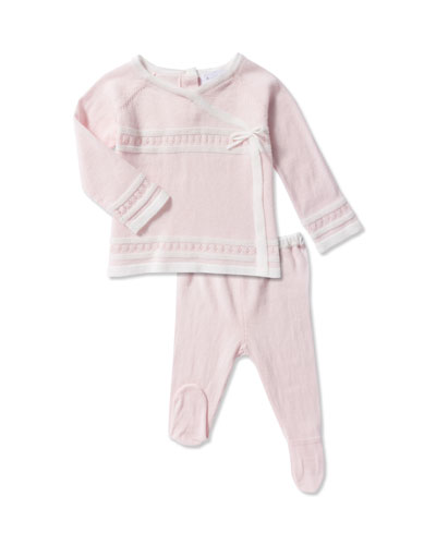 Take Me Home Knit Pointelle Top w/ Footed Leggings, Size Newborn-3 Months