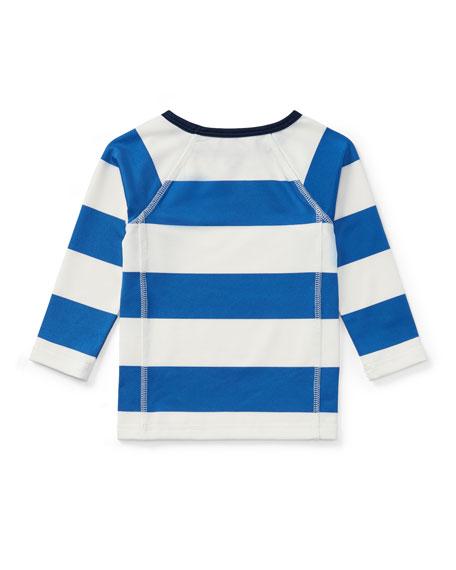 Striped Rashguard Coverup Swim Shirt, 9-24 Months