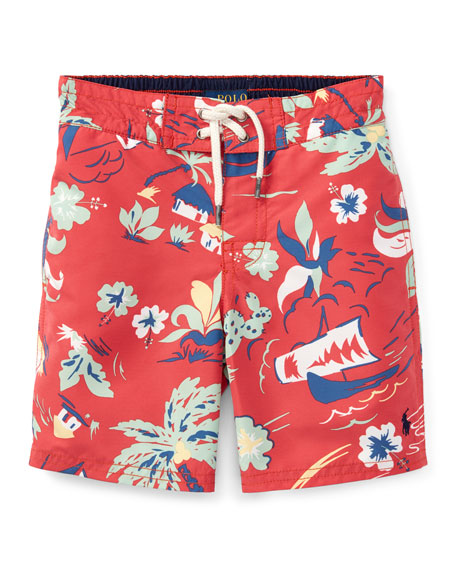 Ralph Lauren Childrenswear Sanibel Tropical Board Shorts, Size