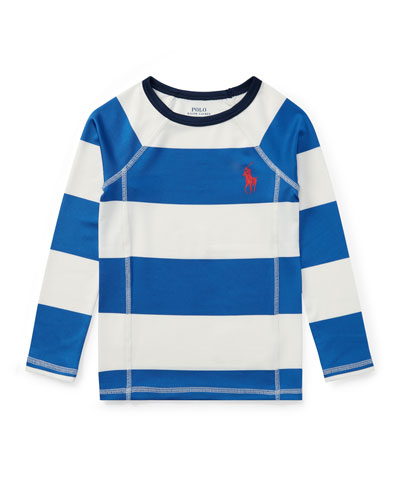 Striped Rashguard Coverup Swim Shirt, Sizes 2-4T