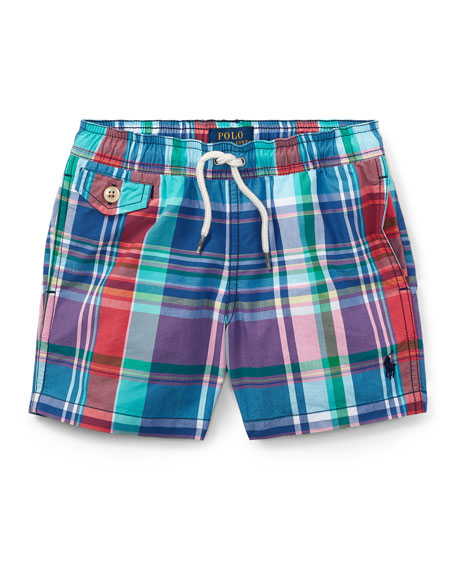 Ralph Lauren Childrenswear Traveler Plaid Swim Trunks, Size