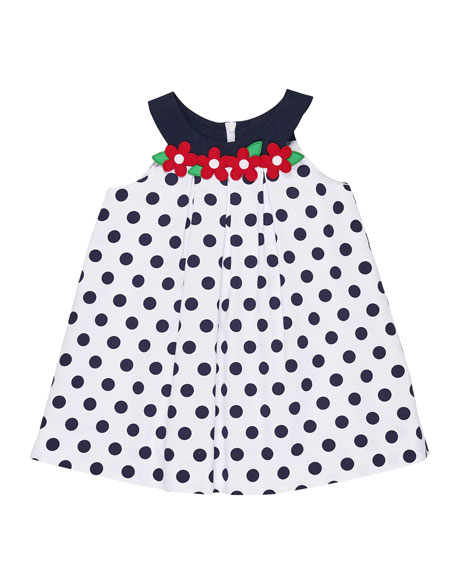 Florence Eiseman Polka-Dot Pique Dress w/ Flowers, Size