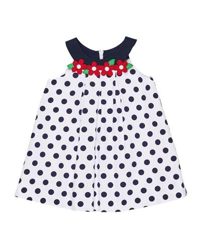 Polka-Dot Pique Dress w/ Flowers, Size 2-6