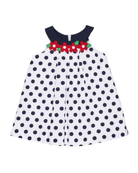 Florence Eiseman Polka-Dot Pique Dress w/ Flowers, Size