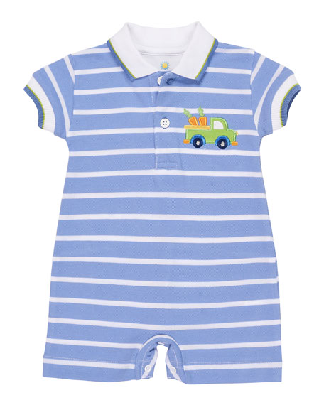 Florence Eiseman Stripe Knit Pique Shortall w/ Rabbit
