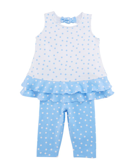 Polka-Dot Ruffle Top w/ Leggings, Size 2-6X