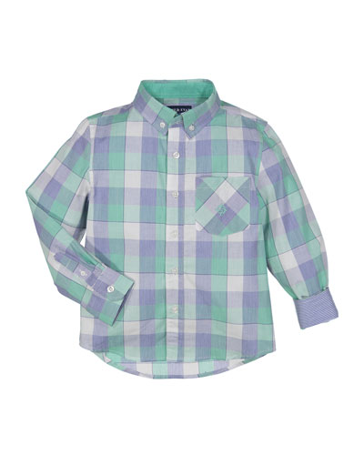 Button-Down Check Shirt w/ Contrast Rolled Cuffs, Size 2-7