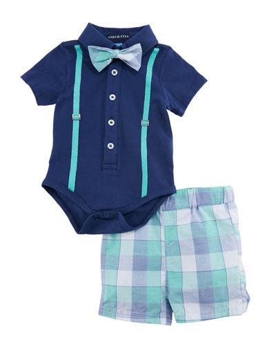 Polo Shirtzie™ w/ Stars & Stripes Shorts, Size 3-24 Months