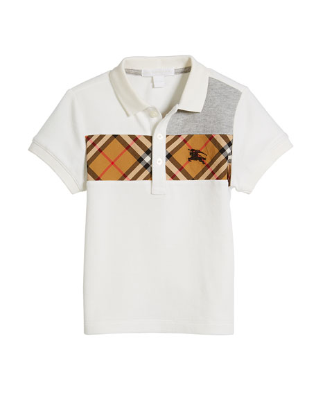 Burberry Jeff Contrasting Polo w/ Check Chest, Size
