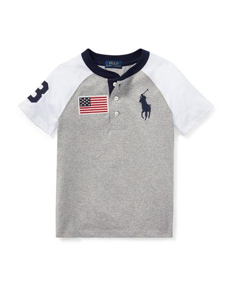 Short-Sleeve Logo Henley Top, Size 5-7