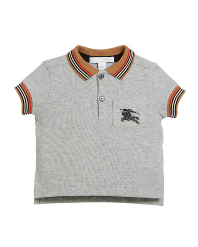 Noel Striped-Trim Logo Pocket Polo  Size 6M-3