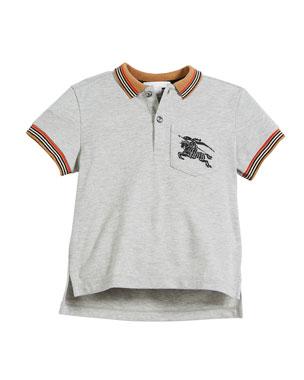 a9b77142c Burberry Noel Striped-Trim Logo Pocket Polo, Size 4-14