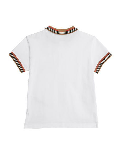 Burberry Noel Striped-Trim Logo Pocket Polo, Size 4-14