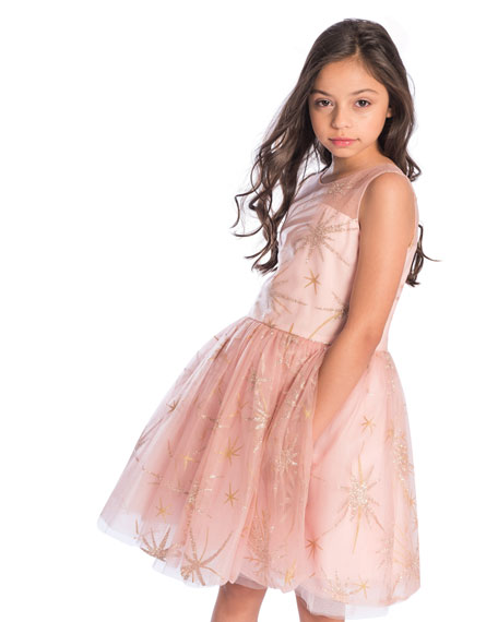 Sunrise Glitter Star Tulle Party Dress, Size 7-16