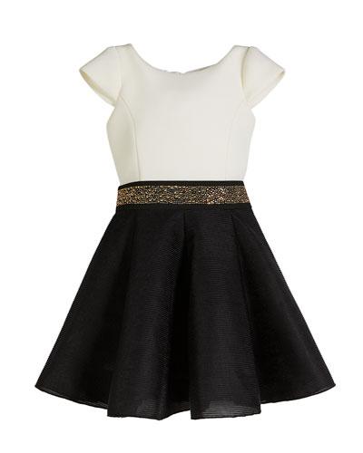 Caitlin Colorblock 8-Panel Swing Dress w/ Jeweled Belt, Size 7-16
