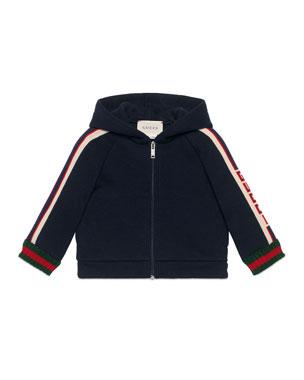 63a68e593 Gucci Hooded Logo Jacquard-Trim Jacket w/ Web Knit Cuffs, Size 6-
